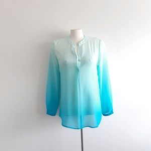 Blue Ombre Long Sleeve Blouse